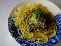 Spaghetti z sosem mięsno – pokrzywowym