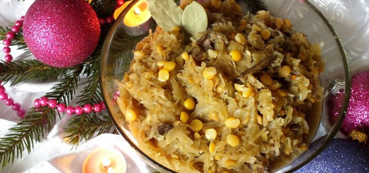 Kapusta z grochem i grzybami – danie wigilijne