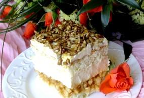Ciasto Biały Lion z karmelizowanym (solonym) słonecznikiem