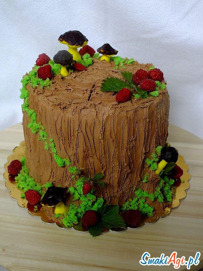 tort pień drzewa, krem rafaello, krem kokosowy, masa truflowa