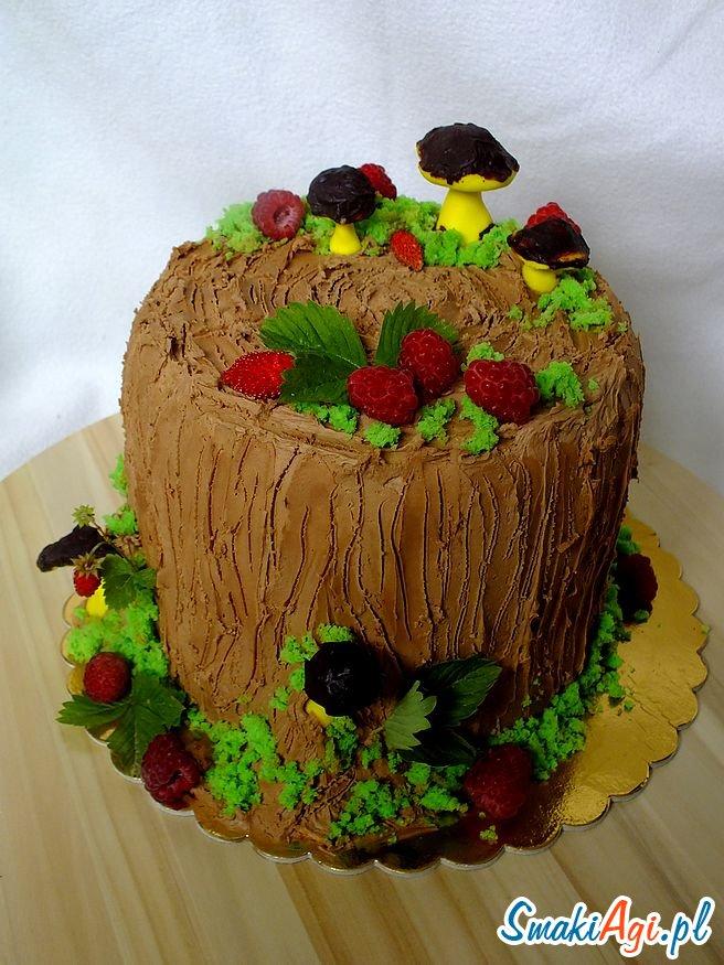 leśny tort, dekoracja grzybki, krem truflowy